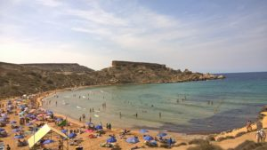 Golden Bay Students learning English in Malta on a beach trip