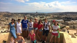 Students group photo at the Citadella in Gozo